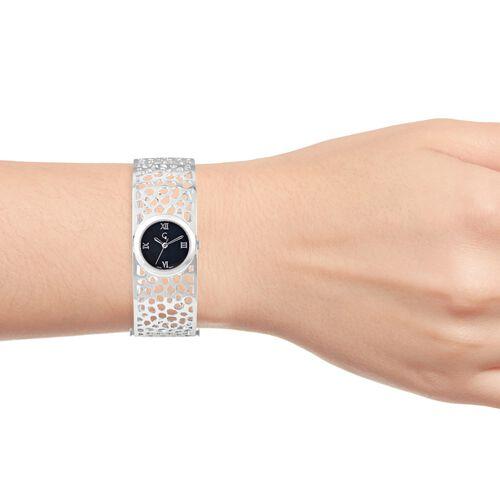 RACHEL GALLEY Swiss Movement Lattice Bangle Rhodium Overlay Sterling Silver Watch (Size 7.75), Silver wt 45.00 Gms