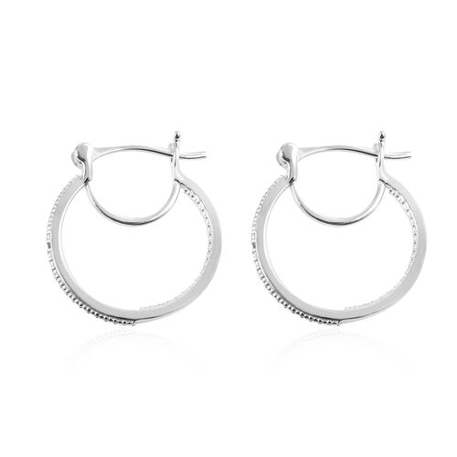 Diamond Hoop Earrings (with Clasp) in Platinum Overlay Sterling Silver