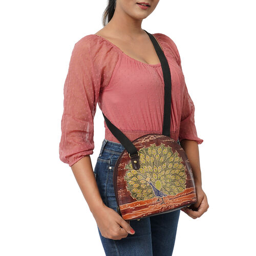 SUKRITI 100% Genuine Leather RFID Protected Peacock Round Crossbody Bag with Adjustable Shoulder Strap (Size 24x25.5x11.5cm) - Brown