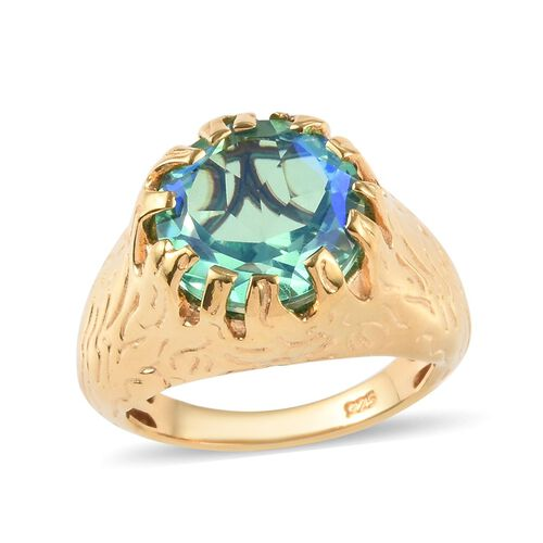 4.50 Ct Peacock Quartz Solitaire Ring in 14K Gold Plated Sterling Silver