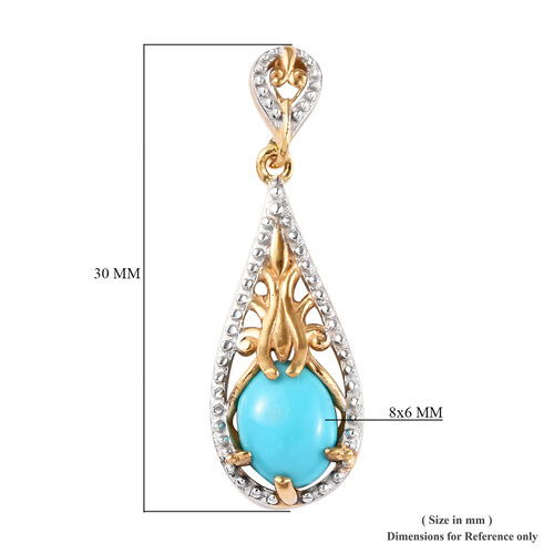 Arizona Sleeping Beauty Turquoise Drop Earrings (with Push Back) in 14K Gold Overlay Sterling Silver 2.00 Ct.