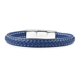 Genuine Braided Leather Bracelet (Size 8) - Blue