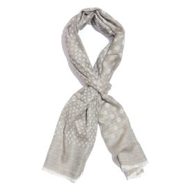 100% Cashmere Wool Dark Grey and Silver Colour Polka Dots Pattern Scarf with Fringes L200x W70 Cm