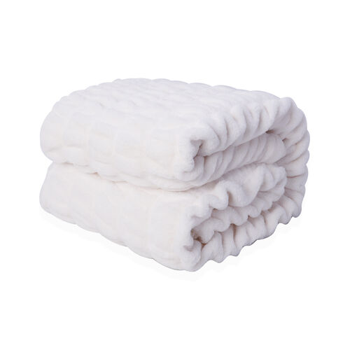 Supersoft High Quality Faux Fur Sherpa Blanket (150x200 cm) - White