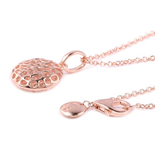 RACHEL GALLEY Rose Gold Overlay Sterling Silver Pendant With Chain (Size 30), Silver wt 5.88 Gms.