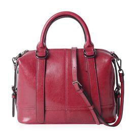Close Out Deal 100% Genuine Leather Fuchsia Colour Tote Bag with External Zipper Pocket and Removabl