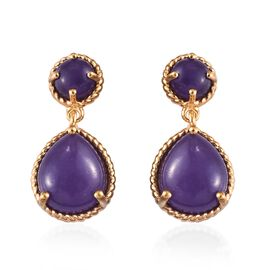 11 Ct Purple Jade Drop Earrings in Gold Plated Silver with Push Back