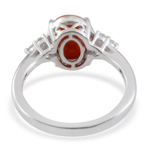 Natural Mediterranean Coral (Ovl), White Topaz Ring in Platinum Overlay Sterling Silver 1.500 Ct.