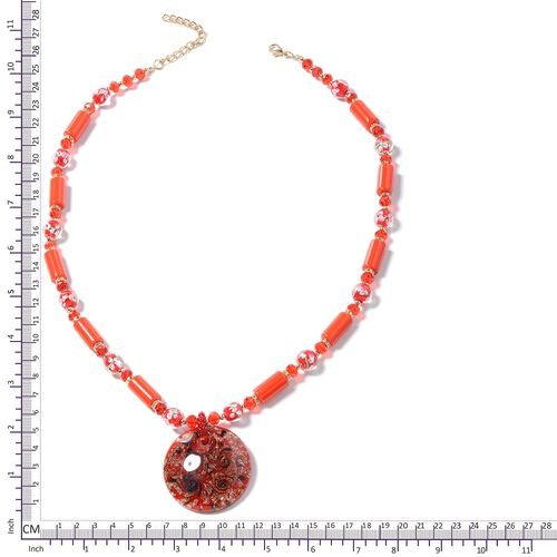 Murano Style Glass (Rnd), Ceramic, Simulated Ruby, White Austrian  Crystal and Multi Colour Beads Necklace (Size 26 with 3 inch Extender) in Yellow Bond
