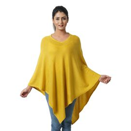 Limited Available - 100%  Cashmere  Wool Poncho-SunFlower Colour (Free Size/70x70Cm)