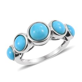 Arizona Sleeping Beauty Turquoise (Rnd 1.25 Ct) 5 Stone Ring in Platinum Overlay Sterling Silver 3.7
