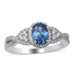 ELANZA Simulated Blue Topaz and Simulated Diamond Ring in Rhodium Overlay Sterling Silver