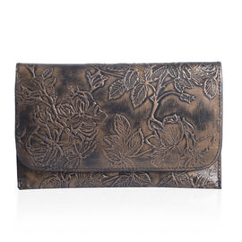 100% Genuine Leather Metalic Bronze Colour Handpainted Floral Pattern Wallet with RFID Blocking (Size 20.5x13 Cm)