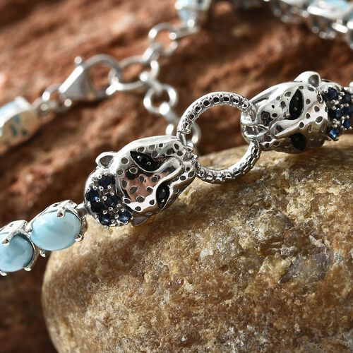 Larimar (Ovl), Kanchanaburi Blue Sapphire and Boi Ploi Black Spinel Panther Head Bracelet (Size 7.5 with 1 inch Extender) in Platinum Overlay Sterling Silver 16.500 Ct.