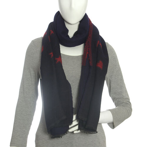 Blue Colour Blend Star And Heart Scarf (Size 185x70 Cm)
