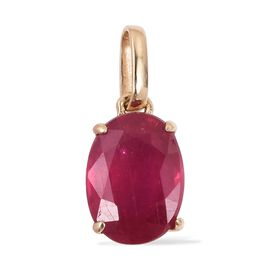 9K Yellow Gold AA African Ruby (Ovl 7x5 mm) Solitaire Pendant 1.15 Ct.