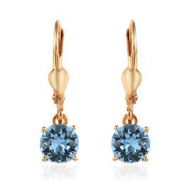 J Francis - Crystal from Swarovski Aquamarine Crystal (Rnd) Lever Back Earrings in 14K Yellow Gold O