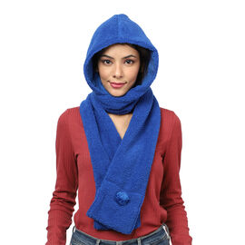 Winter Warm Soft Sherpa Hooded Scarf with Magnetic Button (Size Hood 27x30 Cm; Scarf 15x90 Cm) - Blu