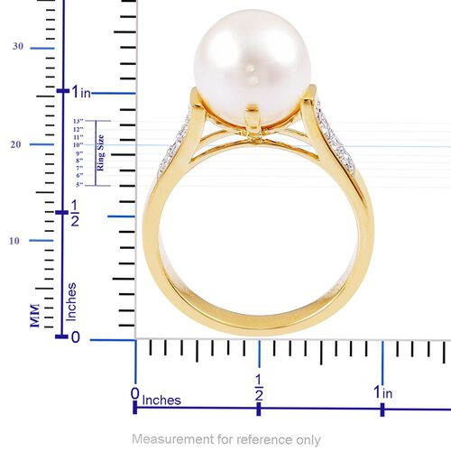 ILIANA AAA South Sea White Pearl (10-10.5mm) and Diamond (SI/G-H) Ring in 18K Gold