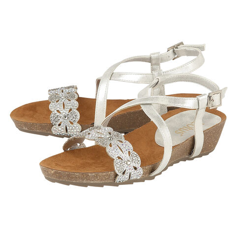 Lotus Silver Glitz Sienna Wedge Sandals (Size 3)