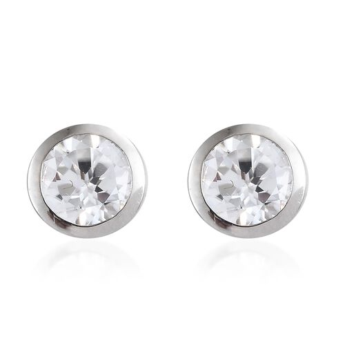 9K White Gold Natural Cambodian Zircon Solitaire Stud Earrings (with Push Back) 1.50 Ct