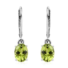 Hebei Peridot (Ovl) Lever Back Earrings in Platinum Overlay Sterling Silver 2.250 Ct.