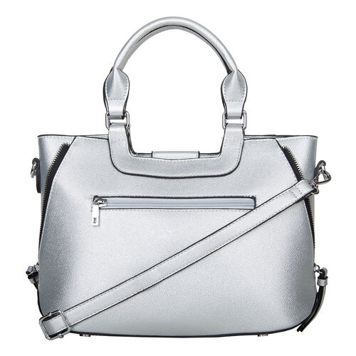 Bulaggi Collection - GOLDIE Handbag with Decorative Pink Band, Shoulder Strap and Zipper Closure (30x12x23cm) - Silver