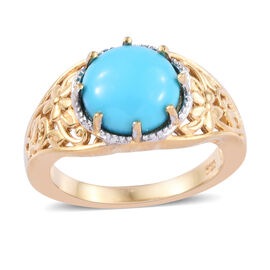 2 Carat Arizona Sleeping Beauty Turquoise Solitaire Ring in Gold Plated Sterling Silver 4.2 Grams