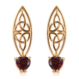 GP Mozambique Garnet (Hrt) Earrings (with Push Back) in 14K Gold Overlay Sterling Silver 1.75 Ct.