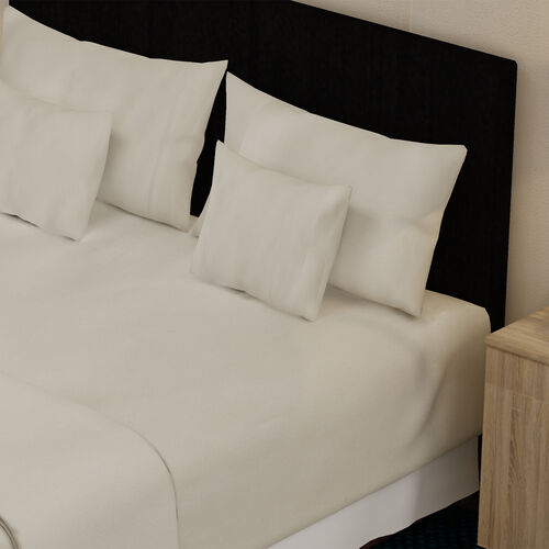 4 Piece Set - 100% Cotton Duvet Cover, 2 Pillow Case with Button Closure and Fitted Sheet (Size King) - Cream