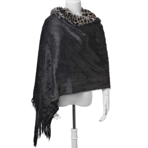 Leopard Pattern Black and Chocolate Colour Shawl with Fringes (Size 160x55 Cm)