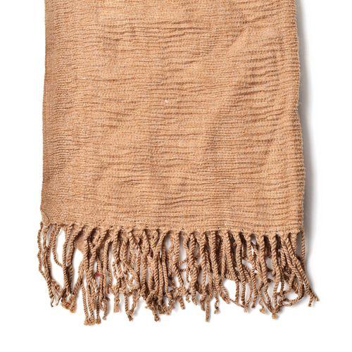 Khaki Colour Scarf with Fringes (Size 200x60 Cm)