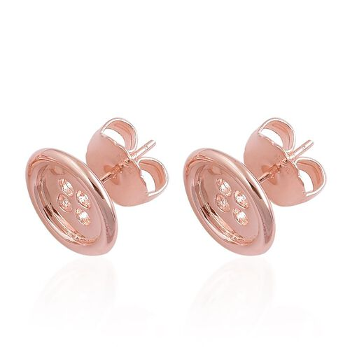 LucyQ Button Stud Earrings (with Push Back) in Rose Gold Overlay Sterling Silver 4.80 Gms.