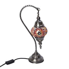Handmade Swan Neck Turkish Mosaic Table Lamp with Sturdy Bronze Base (Size 12x41 Cm) - Red and Multi