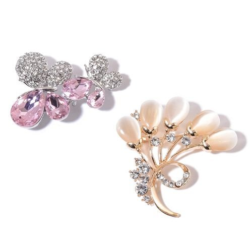 Set of 2 - AAA White Austrian Crystal, Simulated Pink Sapphire and Simulated White Cats Eye Leaf and Butterfly Lovers Brooch in Silver and Yellow Gold Tone