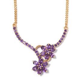 Amethyst (Ovl) Floral Necklace with Chain (Size 18) in 14K Gold Overlay Sterling Silver 3.000 Ct, Si