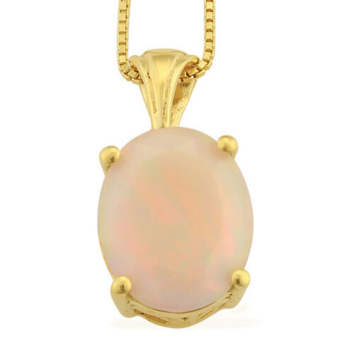 Ethiopian Welo Opal (Ovl) Solitaire Pendant With Chain in 14K Gold Overlay Sterling Silver 1.750 Ct.