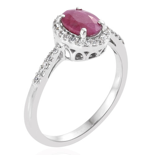 9K White Gold AAA Burmese Ruby (Ovl), Natural Cambodian Zircon Halo Ring 1.350 Ct.
