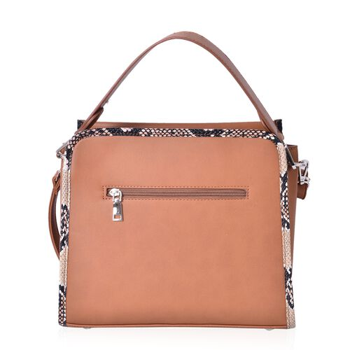 Manhattan Tan Chic Tote Bag with Snake Print Design and Removable Shoulder Strap (Size 30X25X13 Cm)