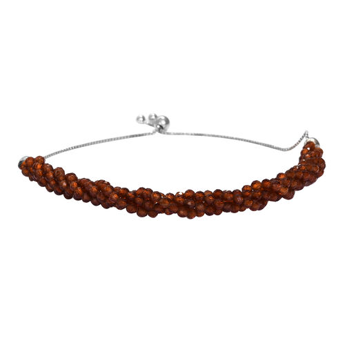 Ratnapura Hessonite Garnet Beads Bolo Bracelet (Size 6.5-9.5 Adjustable) in Platinum Overlay Sterlin