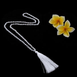 White Colour Beaded Necklace with Tassel 32 Inch