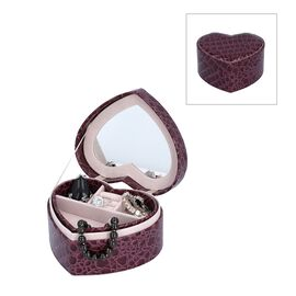 Two Layer Heart Shaped Croc Pattern Jewellery Box with Inside Mirror (Size 14x12.5x7 Cm) - Wine Red