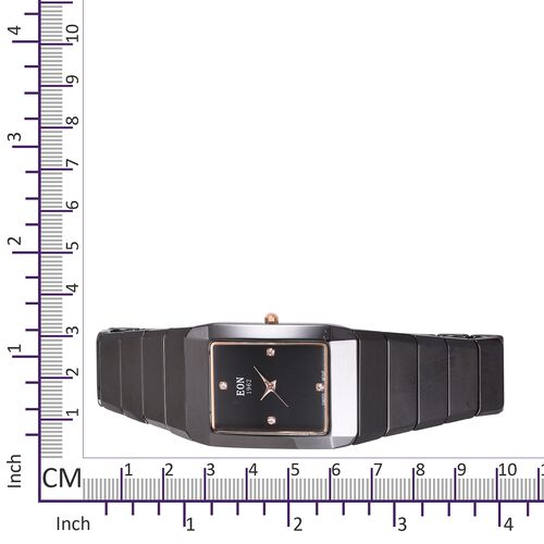 EON 1962 Swiss Movement 3ATM Water Resistant Watch with Studded Simulated Diamond and Black Ceramic Strap