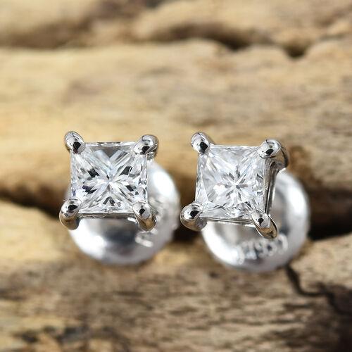 RHAPSODY 950 Platinum IGI Certified Diamond (Sqr) (VS/E-F) Stud Earrings (with Screw Back) 0.250 Ct.