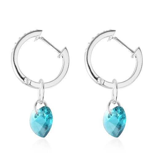J Francis Crystal from Swarovski - Light Blue Colour Crystal (Hrt), White Colour Crystal Hoop Earrings (with Clasp Lock) in Sterling Silver, Silver wt 5.88 Gms.