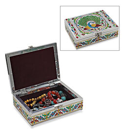 Peacock Pattern Minakari Handcrafted Enamelled Jewellery Storage Box with Purple Velvet Lining (Size