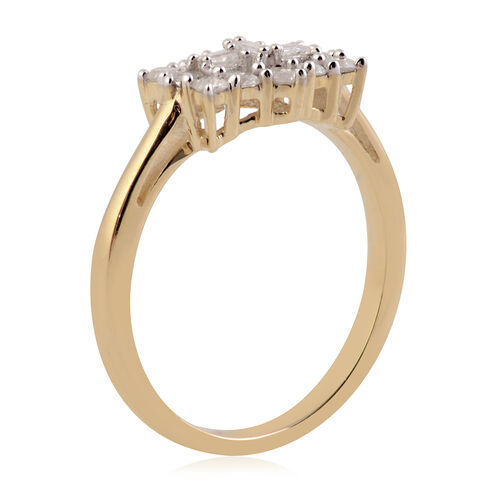 9K Yellow Gold SGL Certified Diamond (I3/G-H) Cluster Boat Ring 0.500 Ct.