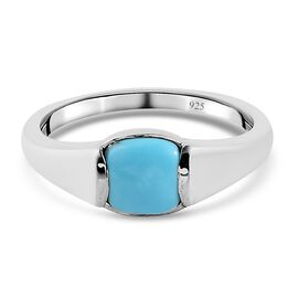Arizona Sleeping Beauty Turquoise Solitaire Ring in Platinum Overlay Sterling Silver 0.75 Ct.