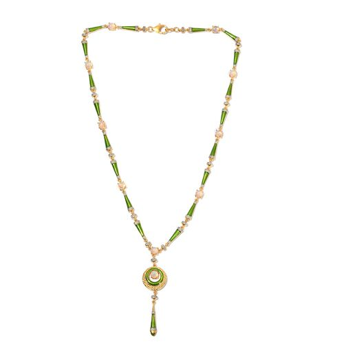 Designer Inspired-  Ethiopian Welo Opal Enamelled Necklace (Size 18) in 14K Gold Overlay Sterling Silver 3.25 Ct, Silver wt. 20.00 Gms