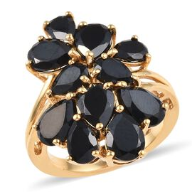 8 Carat Boi Ploi Black Spinel Cluster Ring in 14K Gold Plated Silver